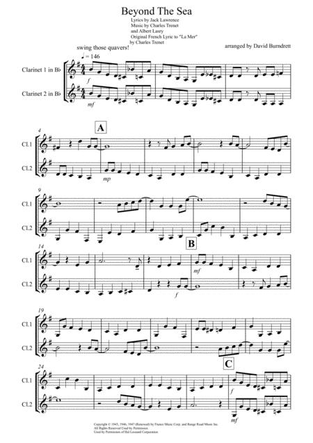 Beyond The Sea for Clarinet Duet