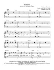 Wanted By Hunter Hayes Digital Sheet Music For Piano Solo Piano