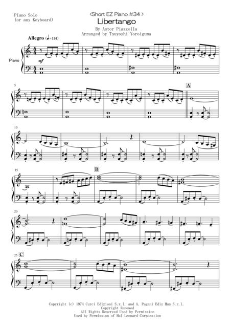< Short EZ Piano #34 > Libertango