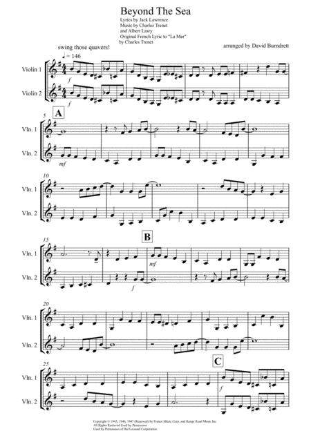 Beyond The Sea for Violin Duet
