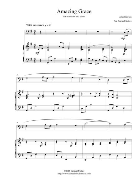 Amazing Grace - for trombone and piano