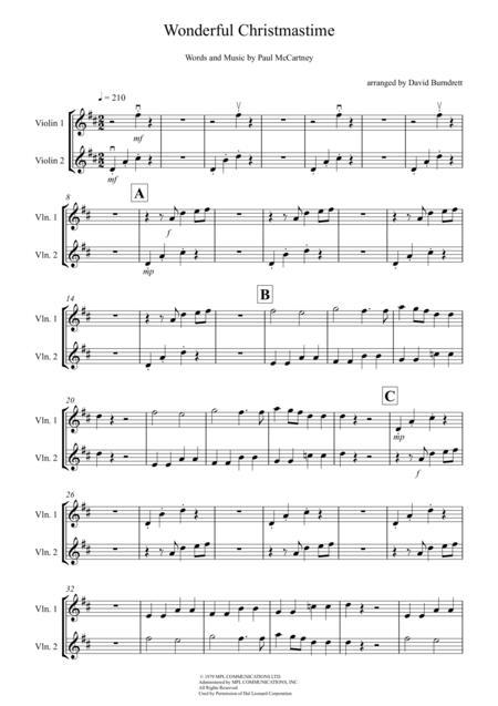 Wonderful Christmastime for Violin Duet