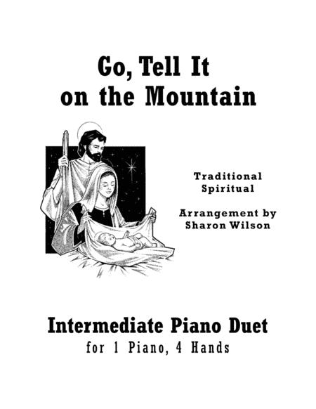 Go, Tell It on the Mountain (Intermediate Piano Duet - 1 Piano, 4 Hands)