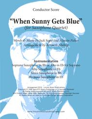 When Sunny Gets Blue (for Saxophone Quartet SATB & AATB)