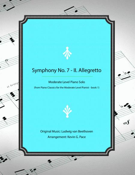 Beethoven Symphony No. 7 in A Major - II. Allegretto Theme - moderate level piano solo