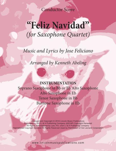 Feliz Navidad (for Saxophone Quartet SATB or AATB)