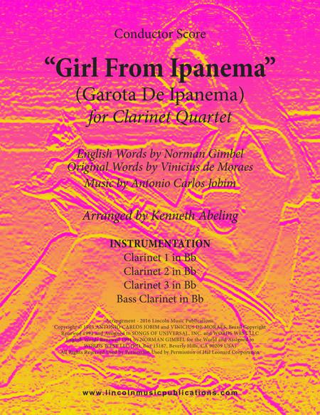 The Girl From Ipanema (Garota De Ipanema) (for Clarinet Quartet)