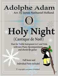 O Holy Night (Cantique de Noel) Adolphe Adam Duet for Treble Instrument in C and Viola