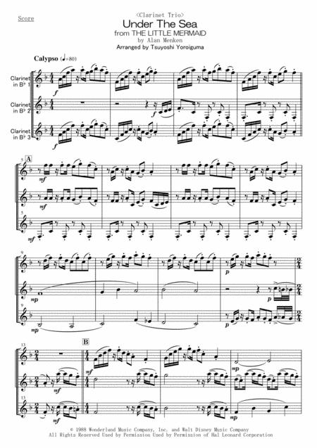 Lt Clarinet Trio Gt Under The Sea From The Little Mermaid By Alan Menken Digital Sheet Music For Score Set Of Parts Download Print H0 135793 881407 Sheet Music Plus