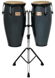 Metallic Blue Supremo Congas With Double Stand