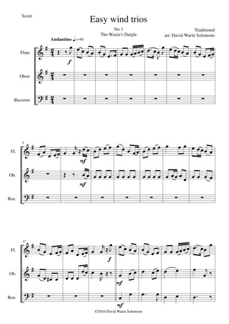 15 easy pieces for wind trio (flute, oboe, bassoon)