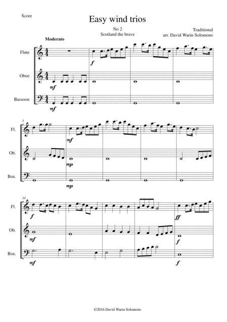Download Scotland The Brave For Wind Trio (flute, Oboe, Bassoon ...