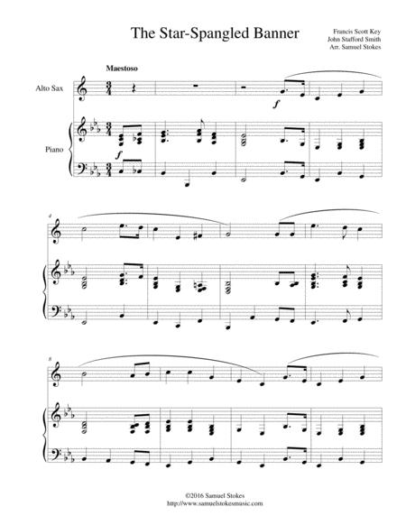 Download The Star Spangled Banner For Alto Sax And Piano Sheet