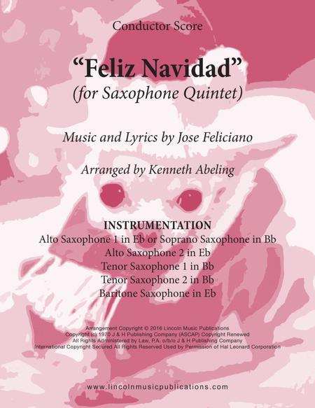 Feliz Navidad (for Saxophone Quintet SATTB or AATTB)