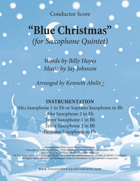 Blue Christmas (for Saxophone Quintet SATTB or AATTB)