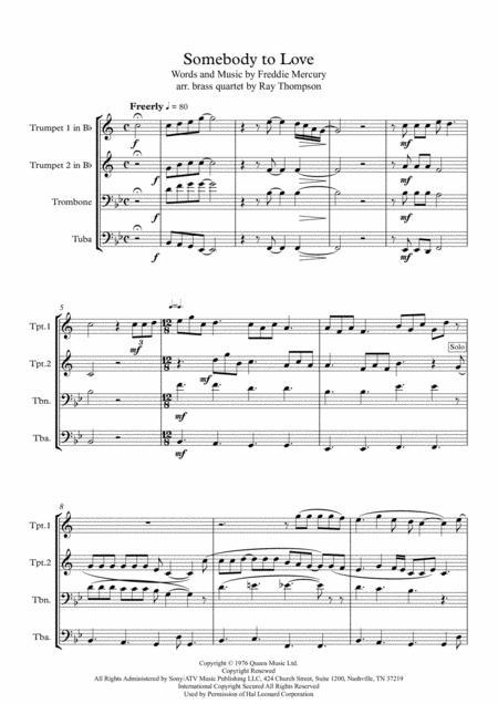 Queen: Somebody To Love - brass quartet