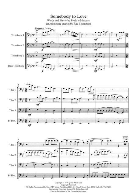 Queen: Somebody To Love - trombone quartet