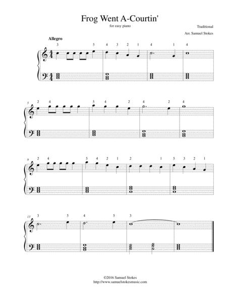 Frog Went A-Courtin' - for easy piano (aka Froggy/Froggie Went A-Courtin')