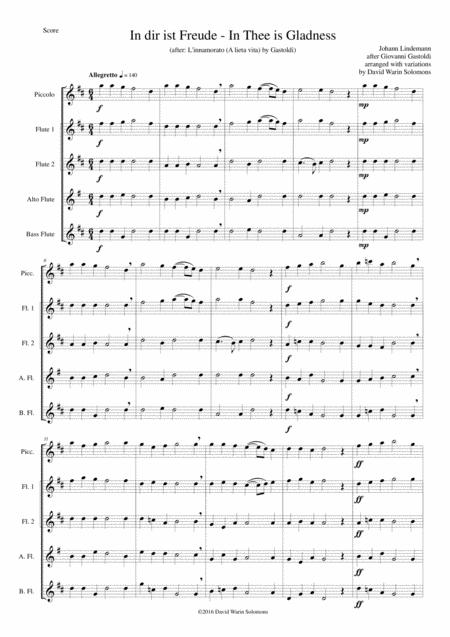 In dir ist Freude (In Thee is gladness) for flute quintet (piccolo, 2 flutes, alto flute, bass flute)
