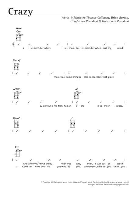 Preview Crazy By Gnarls Barkley (HX.337912) - Sheet Music Plus