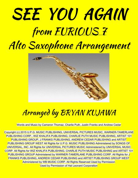 See You Again from FURIOUS 7 - Alto Sax Solo