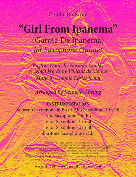 The Girl From Ipanema (Garota De Ipanema) (for Saxophone Quintet)