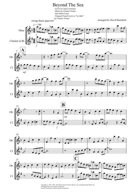 Beyond The Sea for Oboe and Clarinet Duet