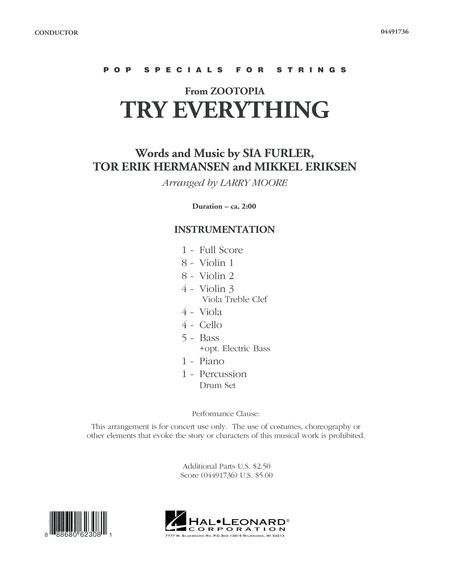 Try Everything (from Zootopia) - Conductor Score (Full Score)