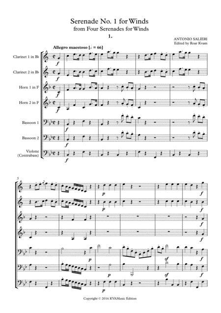Salieri: Serenade No. 1 for Winds (2 Cl. 2 Hrn. 2 Bsn. C.bass)