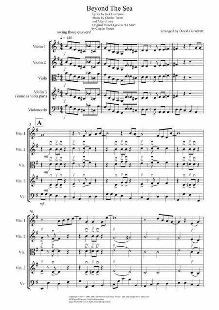 Beyond The Sea for String Quartet