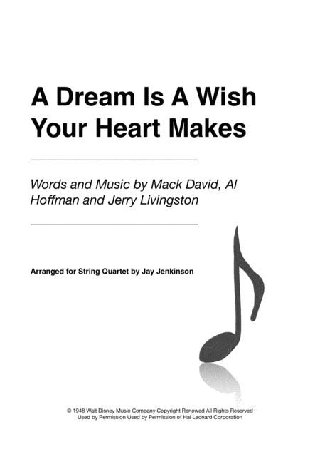 A Dream Is A Wish Your Heart Makes for String Quartet