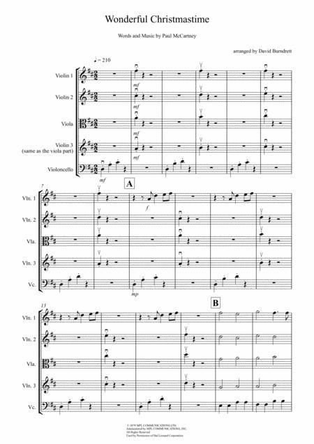 Wonderful Christmastime for String Quartet