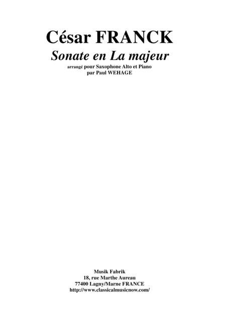 César Franck: Sonata in A major, arranged for alto saxophone and piano