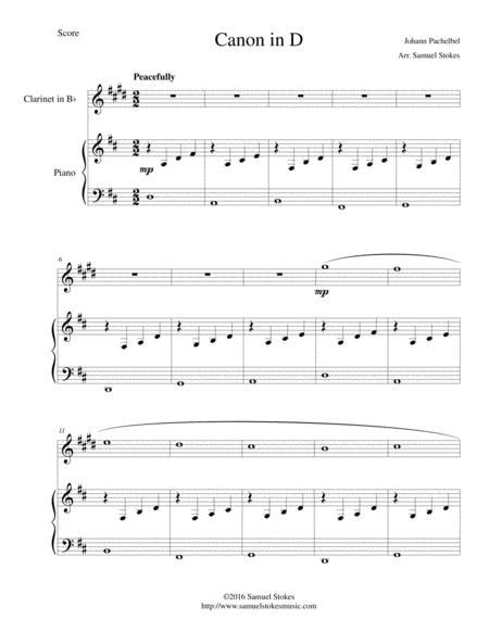 Canon in D (Pachelbel) - for Bb clarinet and piano