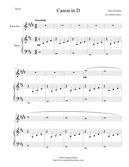 Canon in D (Pachelbel) - for Bb tenor saxophone and piano