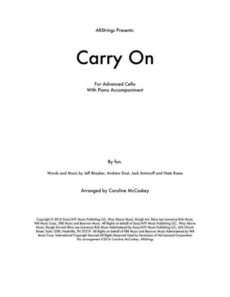 Carry On - Cello Solo, Piano Accompaniment