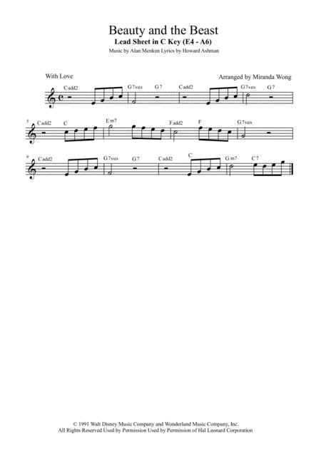 Beauty And The Beast - Lead Sheet in F Key (With Chords)