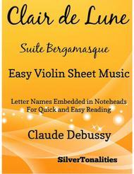 Clair de Lune Suite Bergamasque Easy Violin Sheet Music