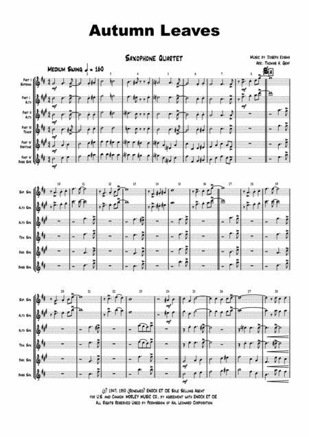 Autumn Leaves - Jazz Classic - Les feuilles mortes - Saxophone Quartet
