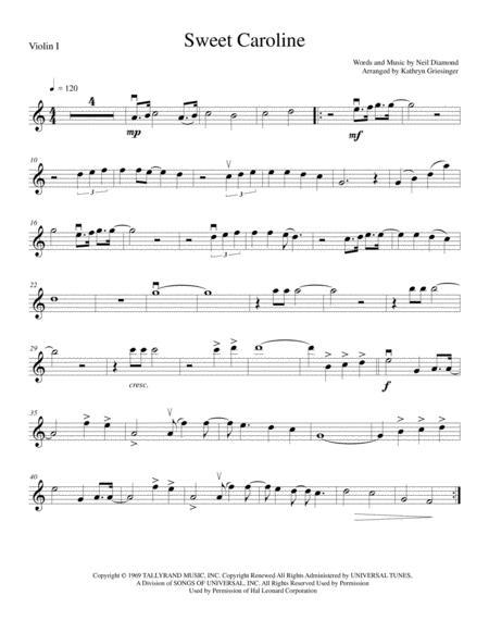 Download Sweet Caroline String Quartet Sheet Music By Neil Diamond
