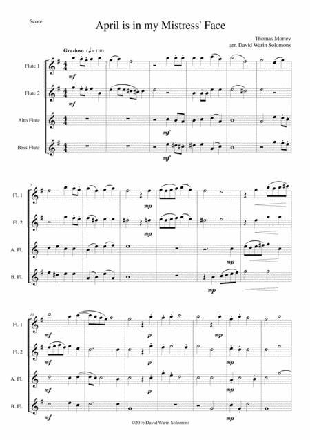 April is in my Mistress' Face for flute quartet