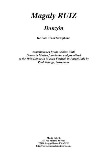 Magaly Ruiz: Danzón for solo tenor saxophone