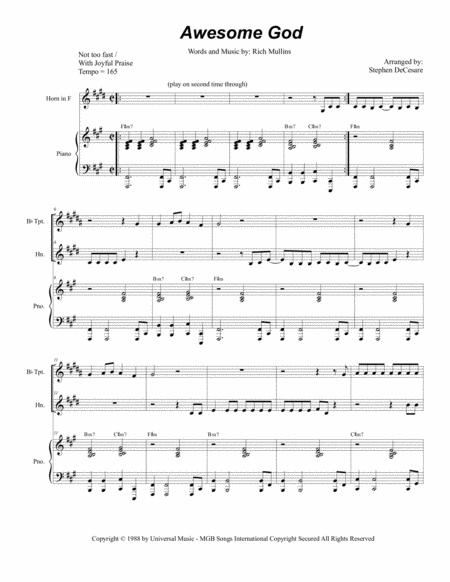 Awesome God (Duet for Bb-Trumpet and French Horn)