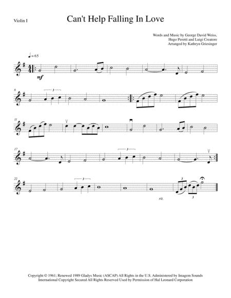Download Cant Help Falling In Love String Quartet Sheet Music By