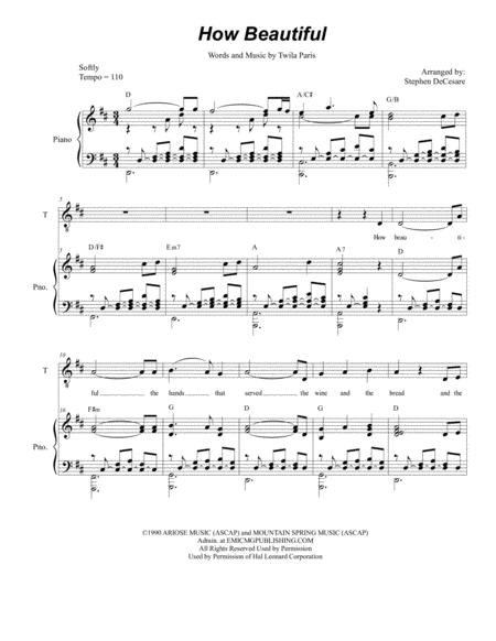 How Beautiful (Duet for Tenor and Bass Solo)