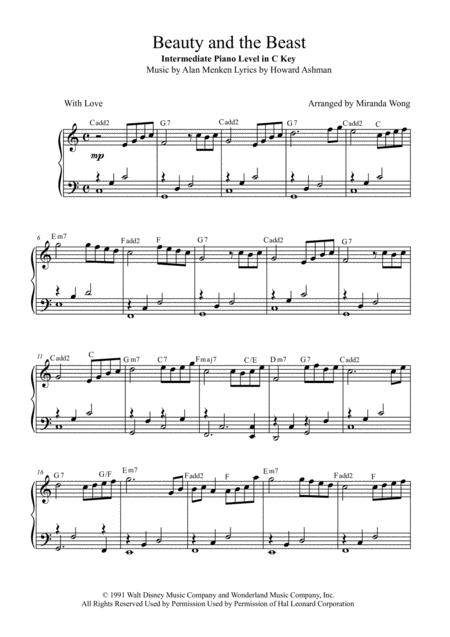 image regarding Beauty and the Beast Piano Sheet Music Free Printable called Obtain Splendor And The Beast - Basic Piano Solo Within C Most important