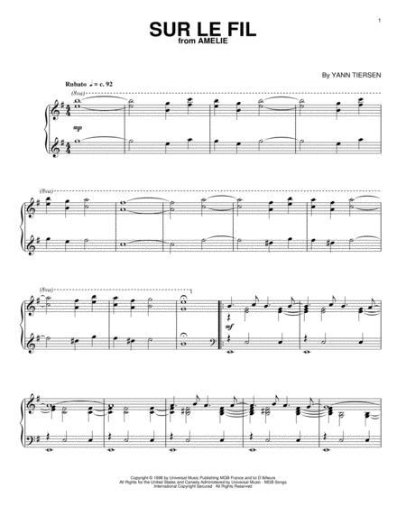 Download Sur Le Fil Sheet Music By Yann Tiersen Sheet