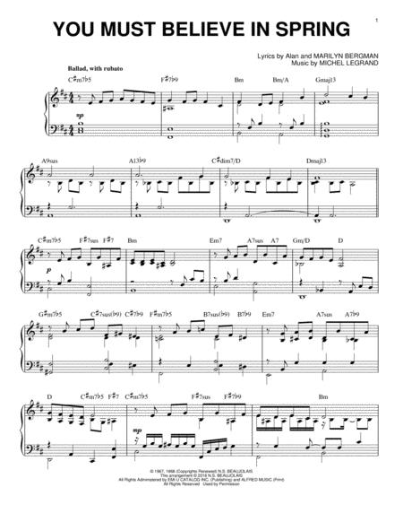 You Must Believe In Spring [Jazz version] (arr. Brent Edstrom)