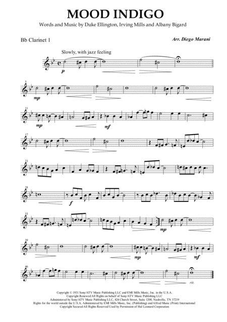 Mood Indigo for Clarinet Quartet