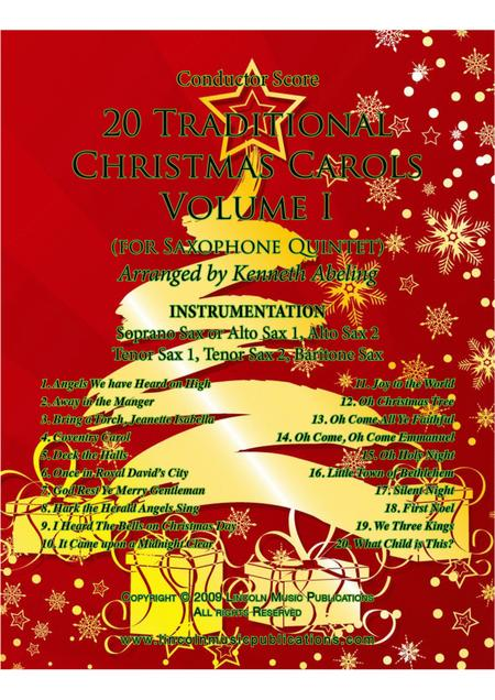 20 Traditional Christmas Carols Volume I (for Saxophone Quintet SATTB or AATTB)